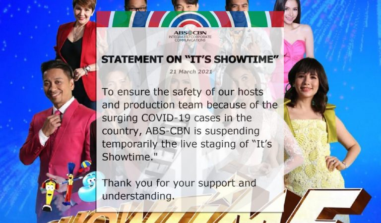 """ABS-CBN's """"It's Showtime"""" halts live staging as Covid-19 case surge"""