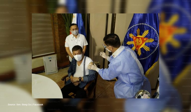 President Duterte receives first dose of COVID-19 vaccine