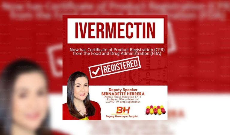 Hon. Herrera: Ivermectin now FDA Registered