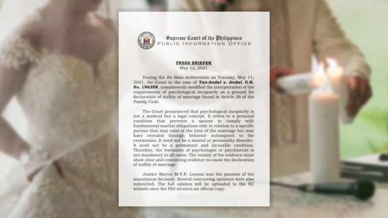 Philippines SC Revises Psychological Incapacity as Legal Concept