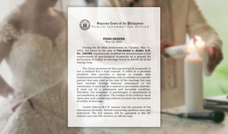 Philippines' SC Revises Psychological Incapacity as Legal Concept