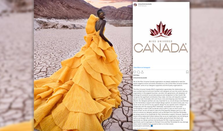 Miss Universe Canada Organization issues an Official Public Apology to Michael Cinco